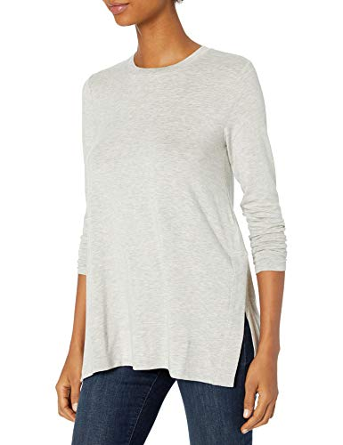 Amazon Brand - Daily Ritual Women's Soft Rayon Jersey Long-Sleeve Split-Hem Tunic, Light Heather Grey, Medium