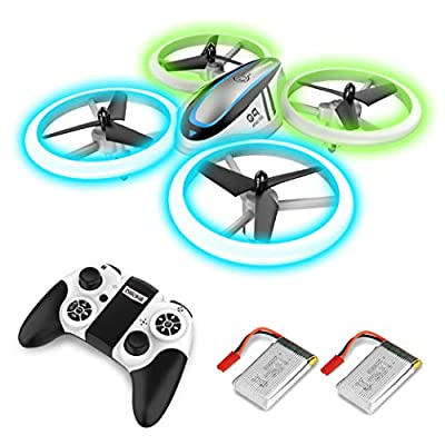 Q9 Drones for Kids,RC Drone with Altitude Hold and Headless Mode,Quadcopter with Blue & Green Lights,Propellers Full Protect and Double Batteries,Easy to Fly Gift Toy for Boys and Girls