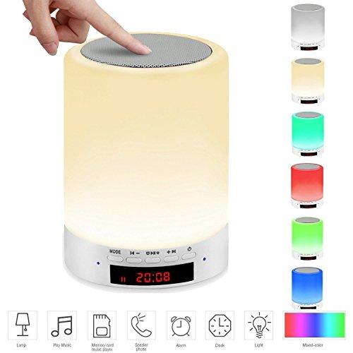 Lampada da Comodino?All-in-1 Toccare Illuminazione con Altoparlante Bluetooth Speaker Portatile Senza Fili, Luce LED, sveglia e ora, Display LED, supporto TF card, lampada da tavolo
