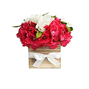 Faux Flower Arrangement in Vase – Life Like Silk Flower Bouquet Set in Wood Square Planter – Faux Flower Set Ideal for Wedding, Party, Décor Hydrangeas with Anemone Flowers for Dining Room or Kitchen