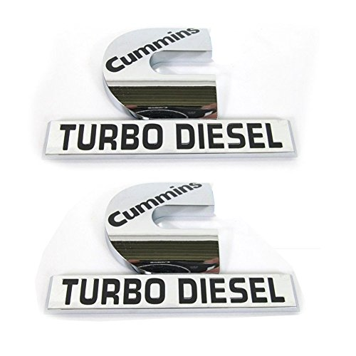 "Yoaoo 2x Replacement for Cummins Turbo Emblem Badge High Output 2500 3500 Fender Emblem Glossy Chrome 4.5"" by 2.9"" inches"
