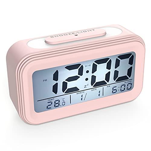 Coolzon Despertador Digital, Alarma Reloj Despertador Pilas para Infantil Niño Adulto, Despertador de Viaje Silencioso con Pantalla LED Calendario Temperatura Función Snooze Luz Nocturna, Rosa
