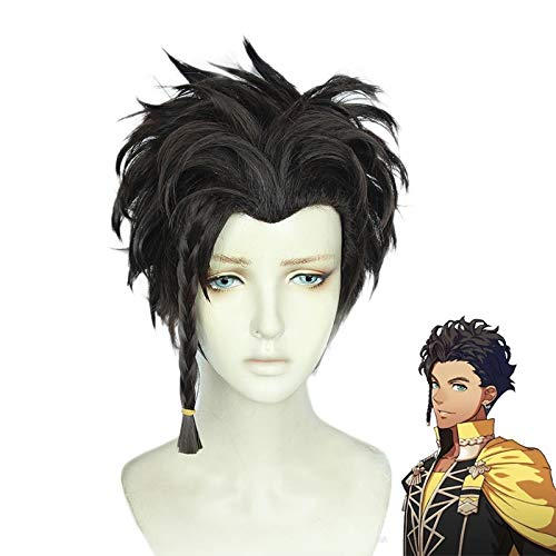 Fire Emblem Claude Von Regan disfraz Cosplay pelucas marrn negro trenzado mixto estilo resistente al calor peluca de pelo sinttico + gorro de peluca