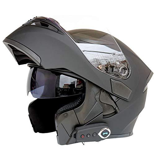 DOT-Zertifizierter Bluetooth Motorrad Integralhelm Mit Doppeltem Objektiv Klapphelm Voller Modularer Helm Sturzhelm Für Erwachsene Automatische Beantwortung Für Stadt Pendeln(Mattschwarz),59~60cm L