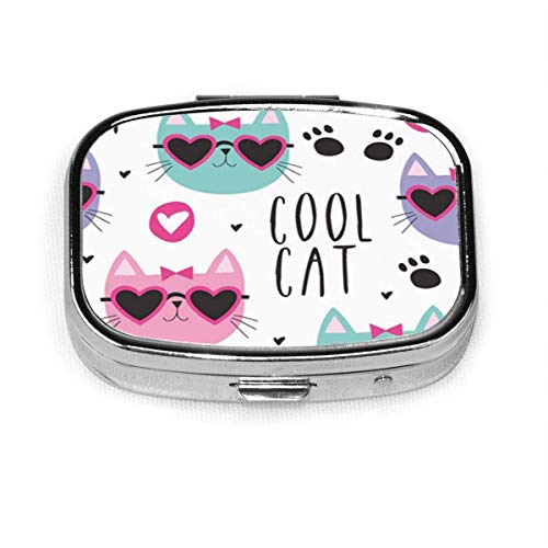 Colorful Kitty Cool Cat Pattern Pink Pet Sweet Adorable Square Pill Box Decorative Boxes Pill Case Medicine Tablet Holder