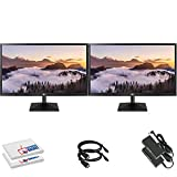 LG 20MK400H-B 20' 16:9 LCD Monitor (20MK400H-B) with HDMI Cable and Microfiber Cleaning Cloth - 2 Monitor Set