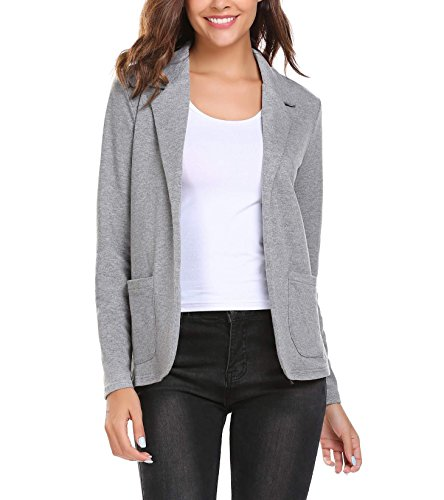 Thinice Women Casual Long Sleeve Blazer Open Front Cardigan Jacket Work Office Blazer Grey XL