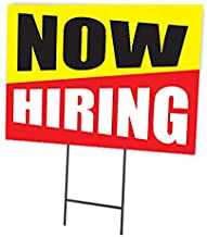 Now Hiring | Full Color Double Sided Outdoor Sign with Ground Stakes | 24 x 18 Inches