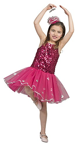 Ballerina Kinder Kostüm mit Pailletten - Pink Gr. 104