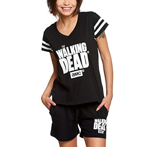 Walking Dead Elbenwald Pyjama Serien Logo Frontprint 2 teilig Shirt und Shorts für Damen schwarz - L