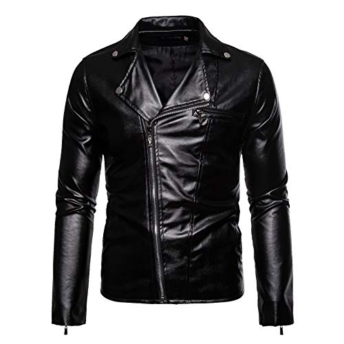 Chaqueta de piel sintética para hombre, para invierno, para motocicleta, con cremallera, para exteriores