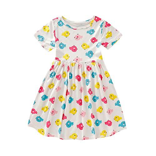 Julhold kleine kinderen baby meisjes leuke korte mouwen cartoon vogel bedrukt prinses vrijetijdskleding 1-5 jaar