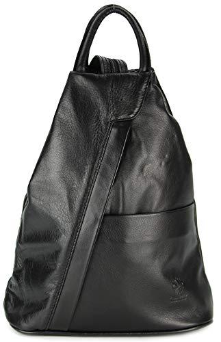 """Belli \""""City Backpack leichte italienische Leder Damentasche Rucksack Handtasche in schwarz - 29x32x11 cm (B x H x T)"""