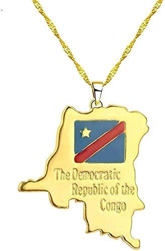 WYDSFWL Collar de la República Democrática del Congo, Collar con Colgante pequeño, joyería de Color Dorado, Collar con Tarjeta étnica, Regalo
