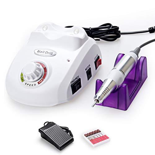 Cadrim Elektrische Nagelfräser Fräser Nagelfeile Maniküre Set plus 6Bits und Schleifhülsen mit geringem Rauschen und Vibration (30000RPM) (Weiß)