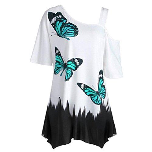 OVERDOSE Damen Sommer Schulterfrei Kurzarm T-Shirt Oberteile Große Größe Frauen Schmetterling Druck Casual Tops Bluse(B,M)