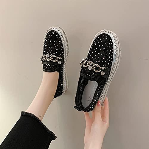 Sandalias para Mujer con Lazos y Gemas Verano Plataforma Baja Mocasines Sandalias de Tobillo Antideslizante Zapatillas de Playa Mocasines Zapatos