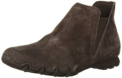 Skechers Women's Bikers MC-BELLORE-Relaxed Fit Short Plain Toe Chelsea Boot, Chocolate, 8 M US