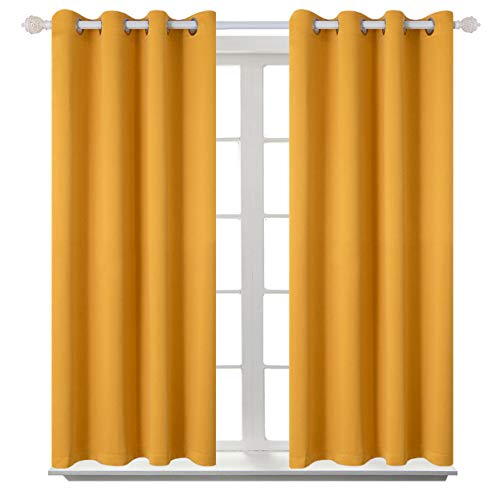 BGment Blackout Curtains for Living Room - Grommet Thermal Insulated Room Darkening Curtains for Bedroom, 2 Panels of 52 x 45 Inch, Mustard Yellow