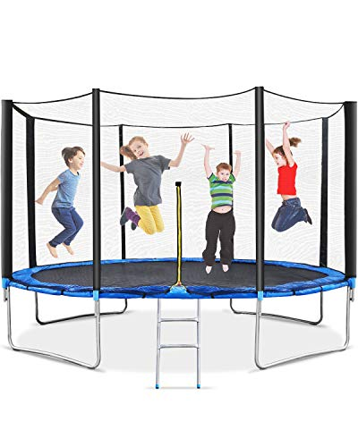 MaxKare 12ft Trampoline for Kids Recreational Trampoline with Safety Enclosure & Net Jumping Mat and Ladder Heavy Duty Steel Pipes Stand for Children & Adults Indoor Outdoor