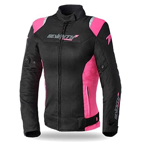 Seventy Chaqueta Moto de Verano SD-JR50 Negro Rosa para Mujer (M)