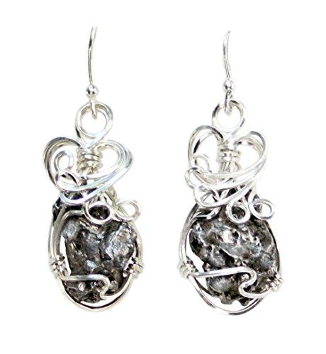 Meteorite Jewelry Earrings Stainless Steel Wire Wrap