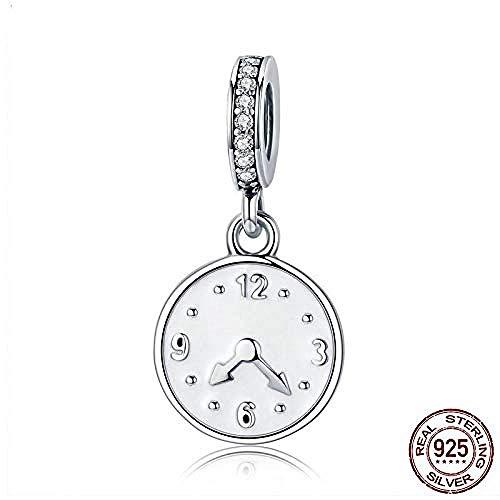 Zilveren Kralen Bedels,925 Sterling Zilveren Klok Happy Time Graveren Hanger Charm Fit Vrouwen Armband Sterling Zilveren Sieraden