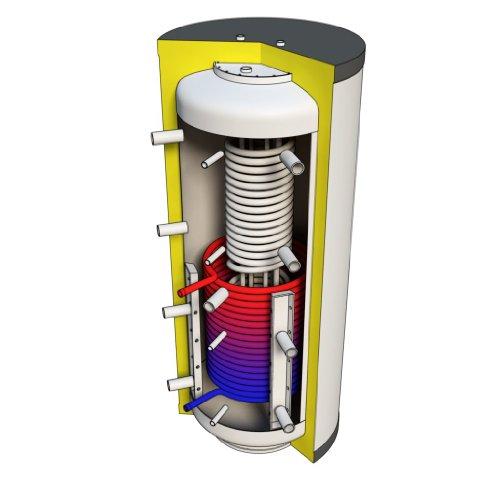 Hygienespeicher 600 Liter mit PUR Hartschaumisolierung und Solarwärmetauscher
