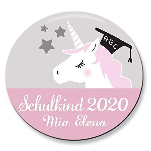 Polarkind Button Namenschild Anstecker Einhorn Schulkind 2020 mit Wunschname und Wunschgröße handmade 38mm 59mm Schultüte Füllung