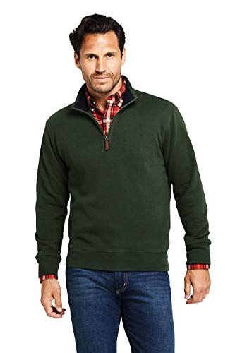 Lands' End Mens Bedford Rib Quarter Zip Sweater Evergreen Forest Regular X-Large