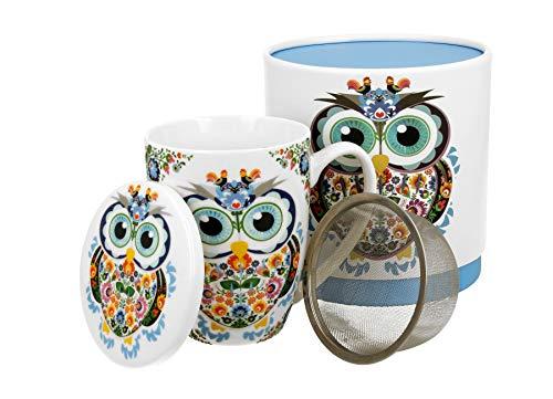 Duo Secret Garden - Juego de tazas de té (420 ml, con infusor y tapa, porcelana china, en caja de regalo), diseño de búhos