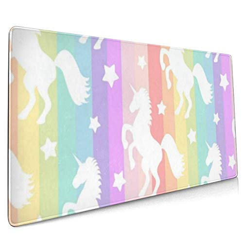 Large Mouse Pad Gaming Star Unicorn Rainbow XXL Extended Mouse Pad Portable Large Desk Keyboard Pad Waterproof Writing Pad for Mouse Office, Home, Non-Slip Rubber Base, Huge 90x40
