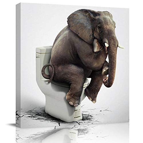 Flouky Modern Canvas Wall Art Square Art Painting for Bedroon Living Room Bathroom,Funny Elephant Sitting on The Toilet Animal Pattern Artworks Home Decor,Framed,Ready to Hang,12 x 12 Inch