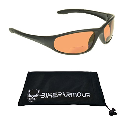 Motorcycle Blue Blocker HD Lens Bifocal Sunglasses 2.00 for Men and Women. Z87.1 Polycarbonate Lens, Wraparound Frame & Cleaning Case. Puma/HD/2.0