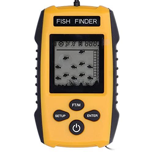 Buscador de peces portátil, Sonda de eco Pantalla LCD LED de mano Buscador de profundidad de peces con cable, Dispositivo detector de peces de sensibilidad ajustable, Transductor de pesca con alarma
