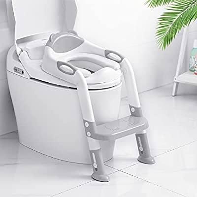 Victostar Potty Training Seat with Step Stool Ladder, Foldable Potty Training Toilet for Kids Boys Girls Toddlers-Comfortable Cushion Safe Handle Anti-Slip Pads (Gray) by Victostar