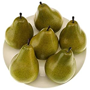 Gresorth 6pcs High Grade Fake Green Pear Decoration Artificial Realistic Fruit Simulation for Home Party Holiday Christmas Display