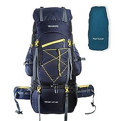 TRAWOC 75 Liter Travel Backpack for Hiking Trekking Bag Camping Rucksack BHK002 1 Year Warranty (Blue),TRAWOC