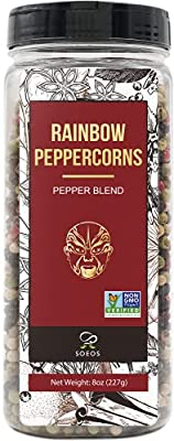 Soeos Whole Black Peppercorn Mix (8oz), Peppercorn Blend of Grinder, Whole White Peppercorns, Red Peppercorn Mix, Black Pepper Mix for Grinder, Rainbow Black Peppercorns Bulk, Black Pepper Blend