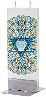 Flatyz Flat Hand Painted Candle | Star of David | Dripless, Smokeless, Decorative, Double Wick Candle