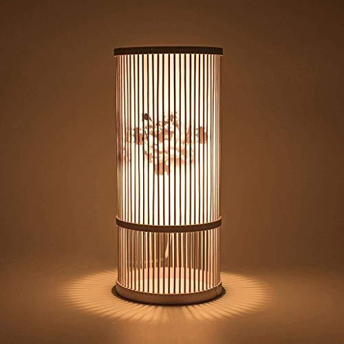 Lámpara de mesa de madera de bambú Weave Hand-Lado, lámpara decorativa, creativa, salón, dormitorio, lámpara de mesa, lámpara de escritorio E27 (color C-18,5 x 42 cm)