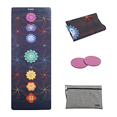 "WWWW PIDO Travel Yoga Mat Natural Rubber Non Slip Gym Mat with Canvas Bag,72""x26"" Foldable 1/16 Inch Ultra-Thin mat for Yoga Pilates Fitness Exercise (Colorful)"