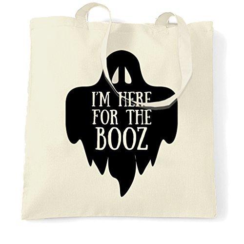 Ik ben hier voor de Booz Halloween Slogan Alcohol drank drank dronken partij geest drinken dansen winkelen Tote Bag door Valentine Herty