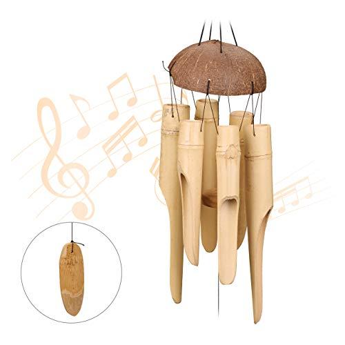 Relaxdays Bambus Windspiel, Holz Klangspiel, wetterfest, für Balkon, Garten, schöner Klang, Feng Shui Deko, 72 cm, Natur