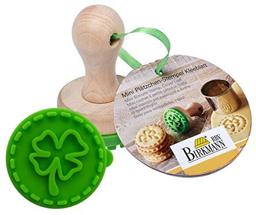 Birkmann 340343 Cachet à Biscuits Mini Trèfle Ø 5cm, Silicone, Vert/Brun, 5 x 5 x 4 cm