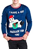 Tipsy Elves Men's Santa Present Christmas Sweater - Navy Big Package Funny Ugly Christmas Sweater: X-Large
