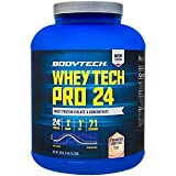 BodyTech Whey Tech Pro 24 Protein Powder Protein Enzyme Blend with BCAA's to Fuel Muscle Growth...