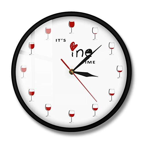 MXHJD-Hora del Vino Reloj de Pared Alcohol Copa de Vino Decoración Reloj de Vino Tinto Relojes Restaurante Amantes del Vino Regalos-Metal_Flame