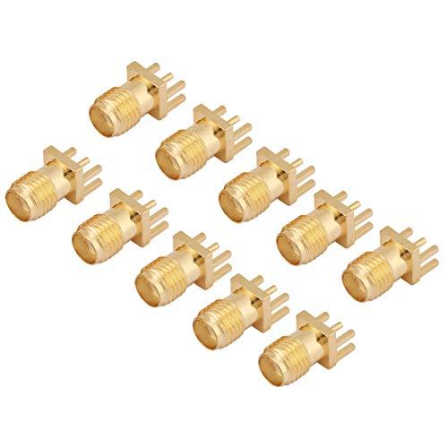 Conector SMA, conectores de RF de 50 ohmios de montaje en PCB de conector hembra de latón SMA con base hembra de 10 piezas