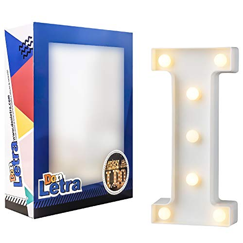DON LETRA Letras Luminosas, 7 Bombillas de LED, Decoración del Hogar, Iluminación Decorativa para Casa, Letras Plásticos de 22cm - Letra I